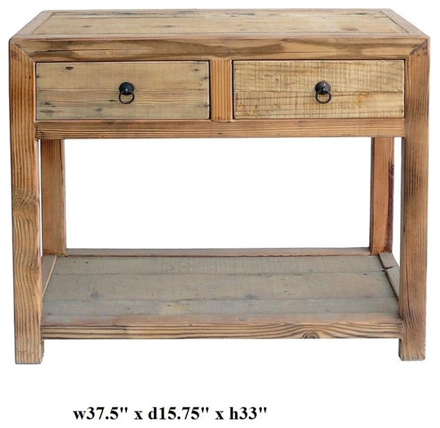 Chinese raw wood plain drawers side table tropical