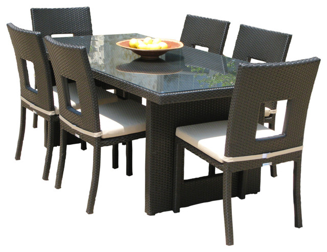 Outdoor Patio Wicker Furniture All Weather Resin 7 Pc Dining Table Chai