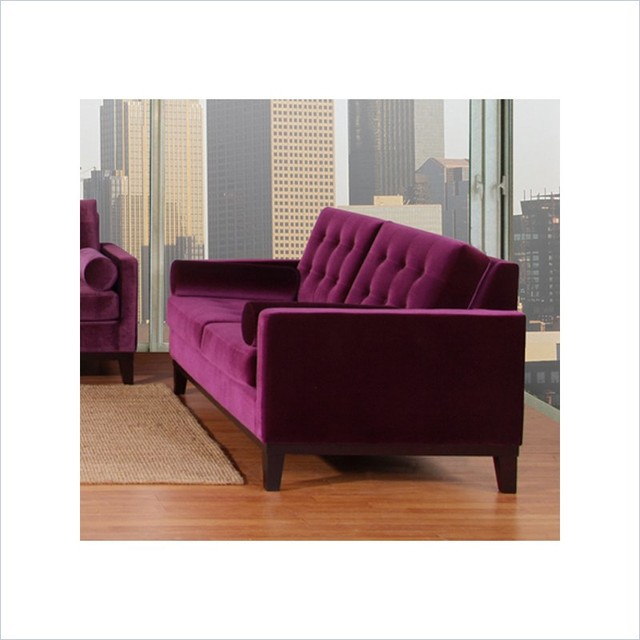 Armen Living Centennial Velvet Loveseat In Purple Transitional Loveseats By Cymax