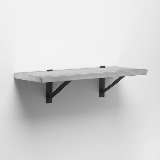 stainless steel shelf black basic brackets. Black Bedroom Furniture Sets. Home Design Ideas