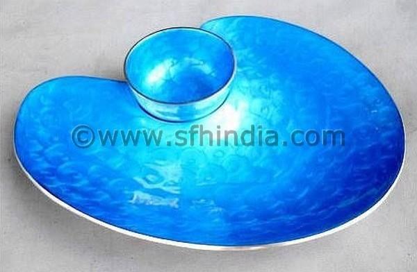 Oval Dip Platter Blue Colour contemporary-bowls