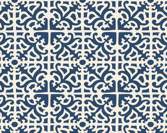 "Ballard Designs - Delray Azure EasyCare Fabric by the Yard - Content: 100% Polyester. Repeat: Non-railroaded fabric with 8 3/8"" repeat.. Care: Spot clean with soap and water. Width: 54"" wide. Azure & off-white Mediterranean tile motif printed on crisp, easy-care 100% polyester.  .  . .  . Because fabrics are available in whole-yard increments only, please round your yardage up to the next whole number if your project calls for fractions of a yard. To order fabric for Ballard Customer's-Own-Material (COM) items, please refer to the order instructions provided for each product.Ballard offers free fabric swatches: $5.95 Shipping and Processing, ten swatch maximum. Sorry, cut fabric is non-returnable."