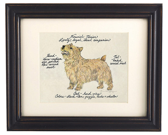 Ballard Designs - Norwich Terrier Dog Print - Hand colored & signed. Printed on parchment. Eggshell mat. Antique black frame. Our Norwich Terrier Dog Print was created by the dog-loving, husband and wife team of Vivienne and Sponge. The Norwich Terrier is known for being lively, loyal and an ideal companion. Each Norwich Terrier portrait is hand colored and embellished with notes on the breed's special characteristics. Printed on antiqued parchment, signed by the artists and framed in antique black wood with eggshell mat and glass front. Norwich Terrier Dog Print features:. . . . *Please note that personalized items are non-returnable.