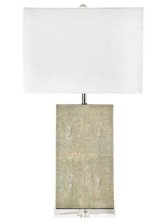 """Regina Andrew - Regina-Andrew Ivory Gray Shagreen Table Lamp - Perfect for a living room or a bedroom this column table lamp is topped with a soft-colored lamp shade. The base features a unique shagreen feel that adds depth and texture. A clear base completes the look adding a contemporary touch. Column table lamp. Ivory gray shagreen base. Natural linen lamp shade. Maximum 150 watt or equivalent bulb (not included). 3-way switch. Shade measures 15"""" across the top and bottom 10"""" high. 15"""" wide. 8 1/2"""" deep. 26"""" high.   Column table lamp.  Ivory gray shagreen base.  Natural linen lamp shade.  Maximum 150 watt or equivalent bulb (not included).  3-way switch.  Shade measures 15"""" across the top and bottom 10"""" high.  15"""" wide.  8 1/2"""" deep.  26"""" high."""