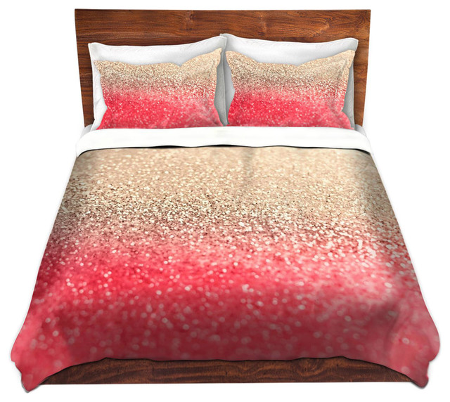 Duvet Cover Twill Gatsby Coral Gold Contemporary