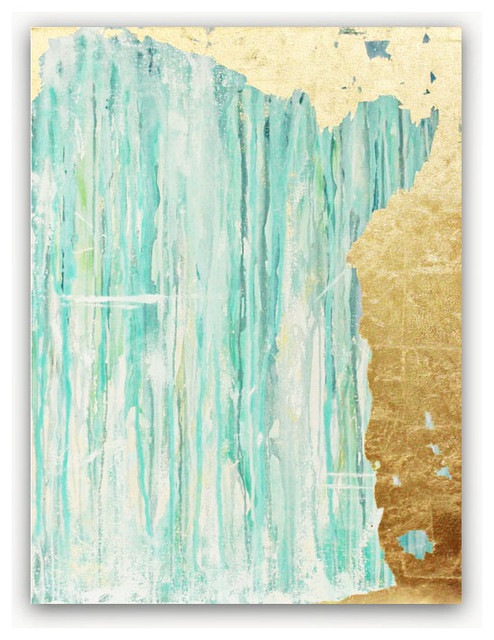 Glacial Retreat - Abstract Acrylic Painting with Gold Leaf