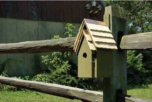 Bluebird Manor Pinion Green Birdhouse contemporary-birdhouses