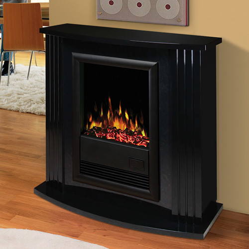 Mozart Gloss Black Electric Fireplace Mantel Package