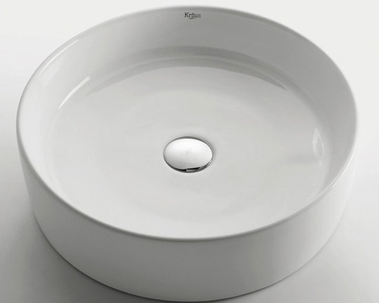 Kraus KCV-140 White Round Ceramic Sink - Add an elegant touch to your bathroom with a ceramic washbasin