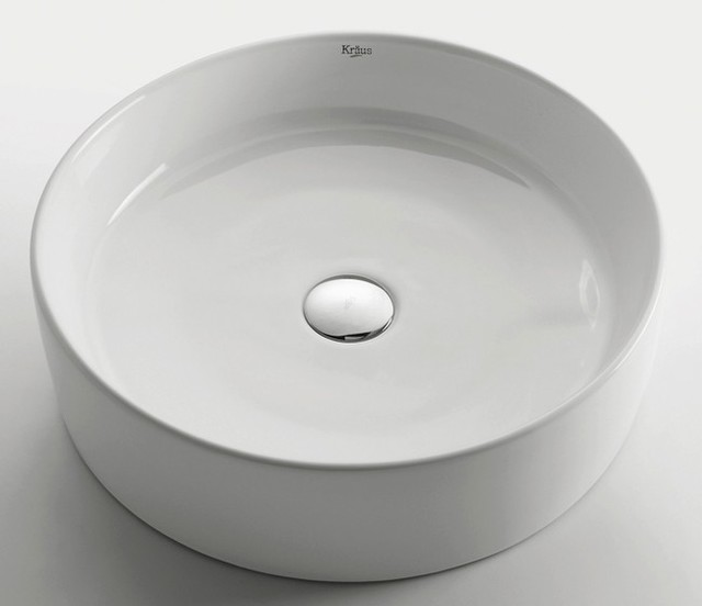 Kraus KCV-140 White Round Ceramic Sink modern-bathroom-sinks