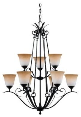 Quoizel Jennifer JF5009HD Chandelier - 32W in. - Hartford Bronze modern-chandeliers