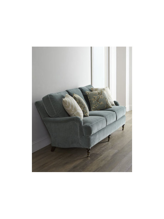"""Lee Industries - Lee Industries """"Kallita"""" Sofa - Three-over-three cushion sofa brings comfort and style to any living area. Decorative patterned throw pillows add interest. Maple frame with black-walnut finish. Cotton/polyester upholstery. Springs are hand-tied to the frame and surrounding springs..."""