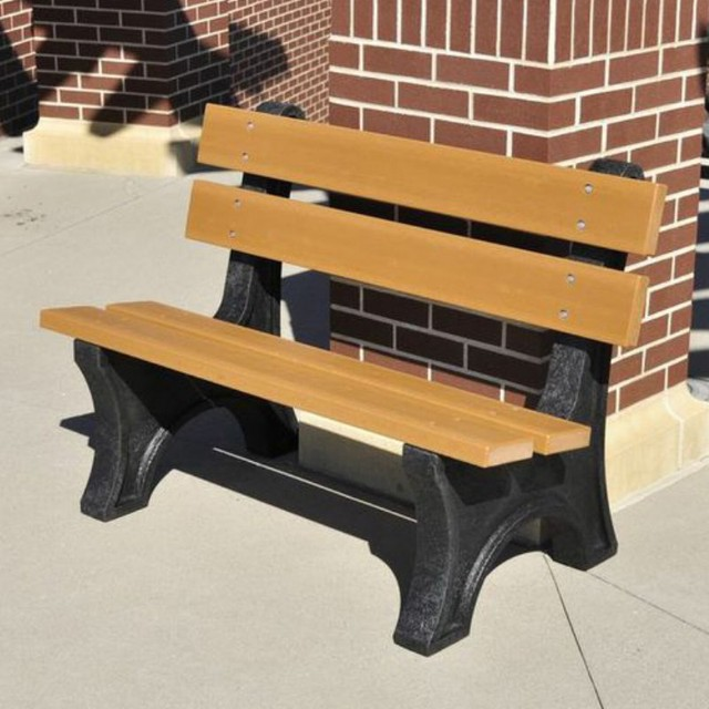 Contemporary Outdoor Benches: Jayhawk Plastics Colonial Recycled Plastic Commercial Park
