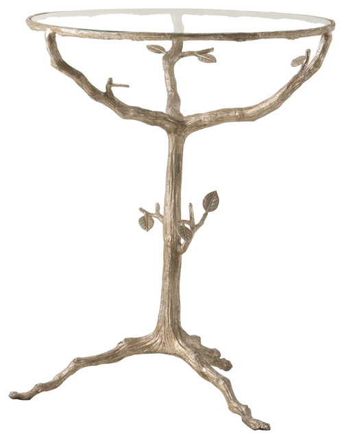Sherwood Sculpted Tree Branch Light Gold Pedestal Side Table Transitional Side Tables And