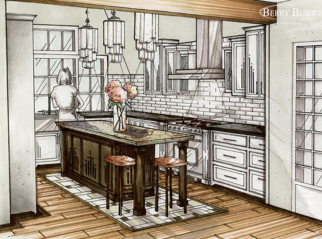 Traditional White Kitchen Design 3d Rendering: Classic White Kitchen.