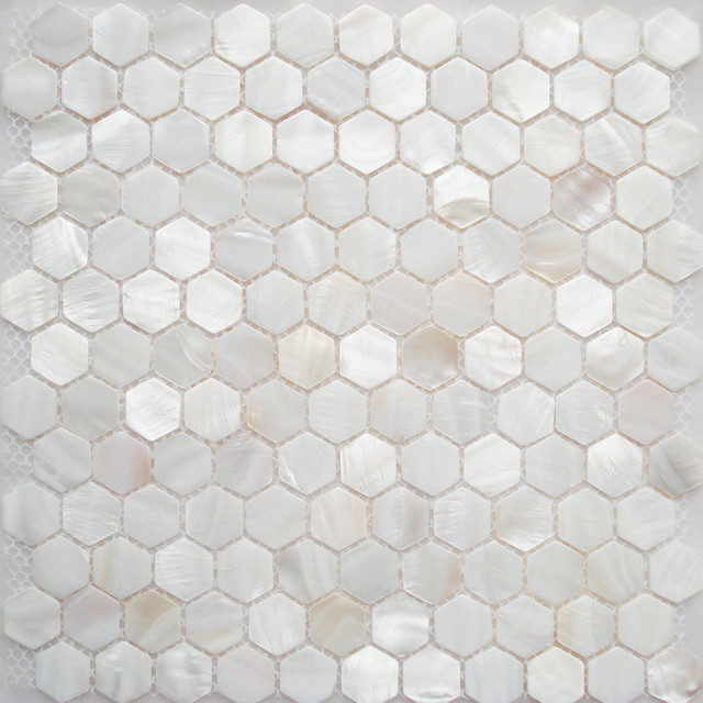 FIFYH Shell Tile White Kitchen Backplash Mother Of