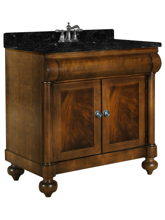 """Kaco International Inc. - Kaco 348-3600-AB John Adams 36"""" Vanity - This John Adams Vanity features American Parlor styling with crotch mahogany veneers and select hardwoods. Coordinating Granite vanity tops are available in four colors for this exquisite line of vanities. The John Adams Collection has a Sherwin Williams multi-step finish of brown cherry utilizing water resistant technology. The vanity is complimented with an optional matching mirror which embellishes the same features and style as the cabinet. This attractive vanity would be the centerpiece in any sophisticated bath. Vanity with Black granite top and white undermount sink included, optional mirrors are available."""