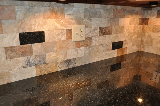 Granite countertops and tile backsplash ideas eclectic for Granite and tile bathroom ideas