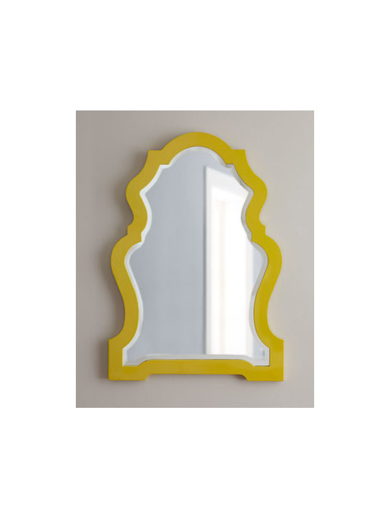 """Horchow - Yellow-Framed Mirror - Glossy yellow lacquer outlines this keyhole mirror. Handcrafted of resin and mirrored glass. Hand painted. 26""""W x 1""""D x 37""""T. Imported."""