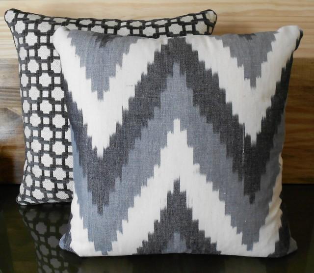 Gray chevron ikat pillows modern-decorative-pillows