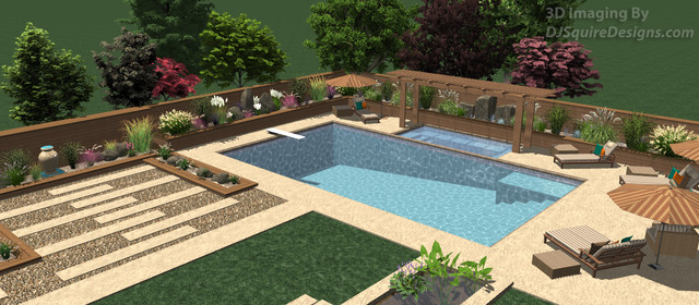 3D Backyard Squared - Pool 3 contemporary-rendering