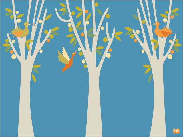 """Fruit Trees Print, Azur, 11"""" x 14"""" contemporary-prints-and-posters"""