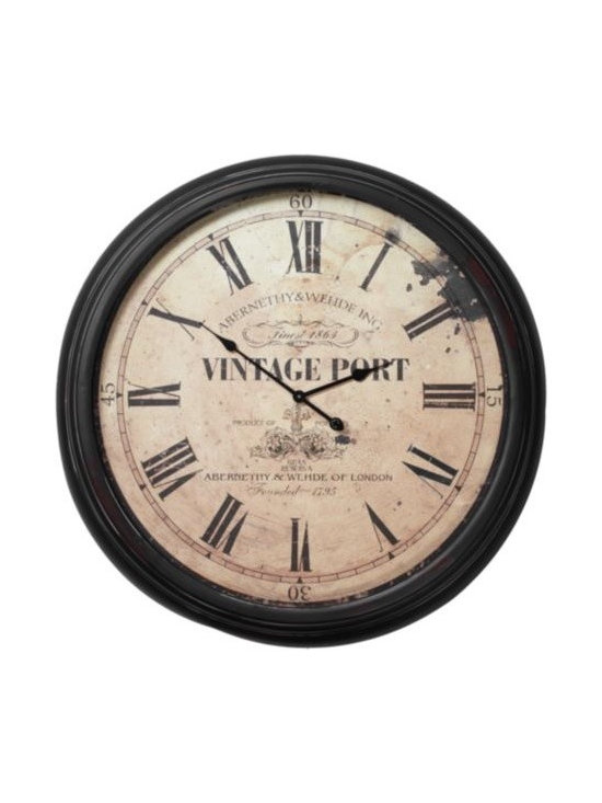 Z Gallerie - Vintage Port Wall Clock - Enjoy the aesthetic of a fine antique timepiece, but will all the modern amenities. Our Vintage Port Wall Clock is fashioned in the likeness of an English original, with a weathered look to the glass-covered face and a deep Brown iron frame. Roman numerals appropriately delineate the hours against the graphics of an old London enterprise. Measures a grand 36.5 inches diameter. Requires a single AA battery (not included).