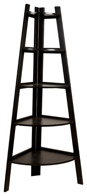 Five Tier Corner Ladder Display Bookshelf contemporary-bookcases