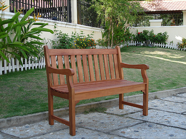Henley 2-Seater Eucalyptus Wood Outdoor Bench contemporary-outdoor-benches