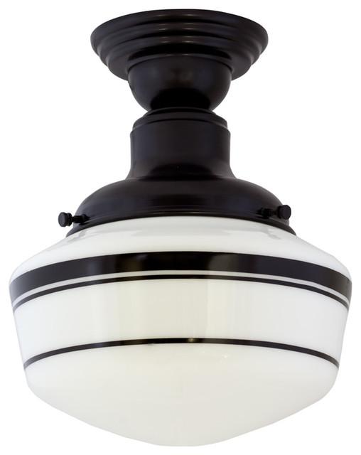 intermediate schoolhouse semi flush mount light. Black Bedroom Furniture Sets. Home Design Ideas