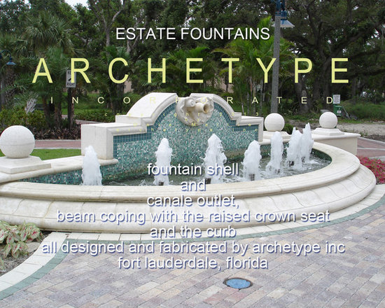 13.02d  Fountains Gallery/ Estate Stone/ Private Residence, Fort Lauderdale, FL - Large Estate Fountains: Designers can capitalize on this original set of Pool Coping, Curb Stone and Unique Shell Motif Fountain Outlet and Canale (or Spout).