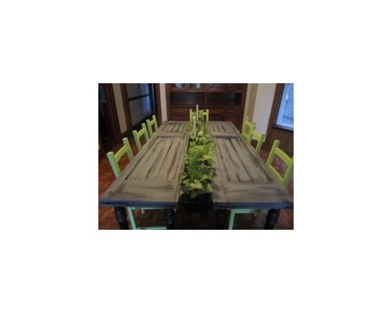 Eco Friendly Furnture and Lighting - This beautiful table exemplifies Green with NV's signature design. It combines both reclaimed materials and gorgeous living plants to create interactive art and a place to share a meal. This original design is made from reclaimed vintage doors. The runner of the table is made from living plants. The legs are constructed from heavy duty steel piping. Planters are removable for watering or replanting if necessary