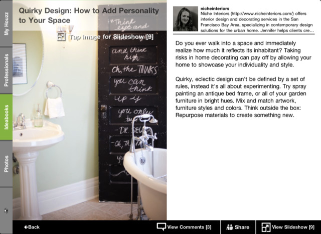 The Houzz iPad app