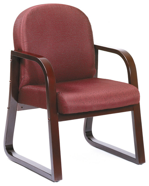 Boss Chairs Boss Mahogany Frame Side Chair in Burgundy Fabric traditional-office-chairs