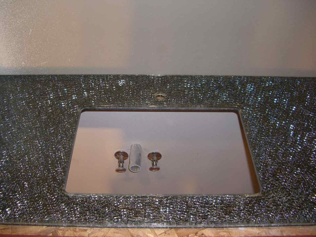 Shattered Glass Vanity  Countertop contemporary-bathroom-countertops