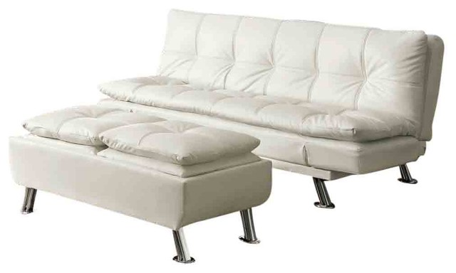 Metal Leg Faux Leather Sofa Bed Futon White Include