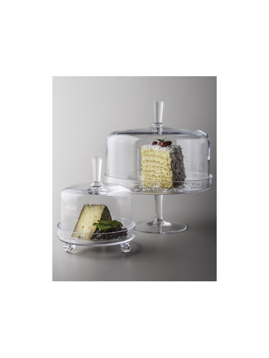"Horchow - Heirloom Cheese Server - The sleek and sophisticated styling of this cake dome and cheese server will graciously welcome guests on many occasions. Made of glass. Hand wash. Footed cake dome, 11.75""Dia. x 13.75""T. Cheese server (not shown), 7.25""Dia x 8.6""T. Imported."