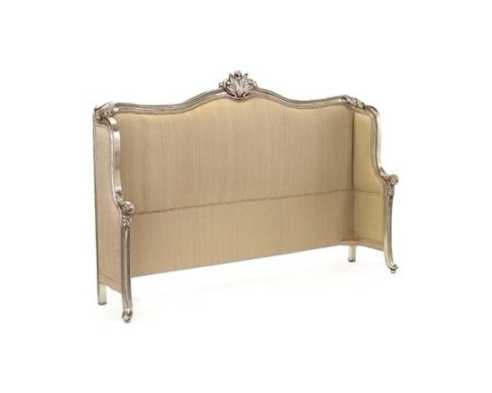 Mountbatten Queen Headboard by John Richard - The Mountbatten Headboard showcases elegant, feminine design with its sleek upholstery, unique shape, and carved details finished in Old Silver.