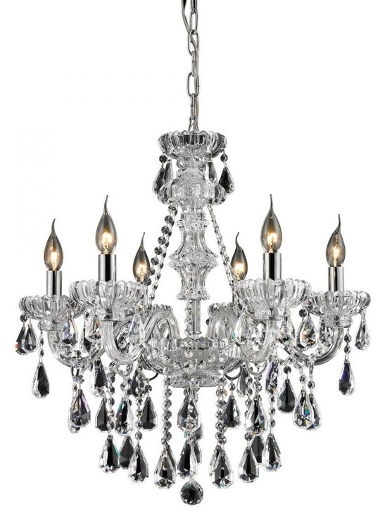 ELK Lighting - Six Light Clear/Chrome Up Chandelier - Finish: Clear/Chrome