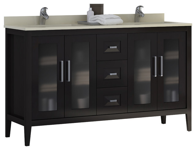 Macral Solid Wood 60 Double Sink Bathroom Vanity Espresso Contempora