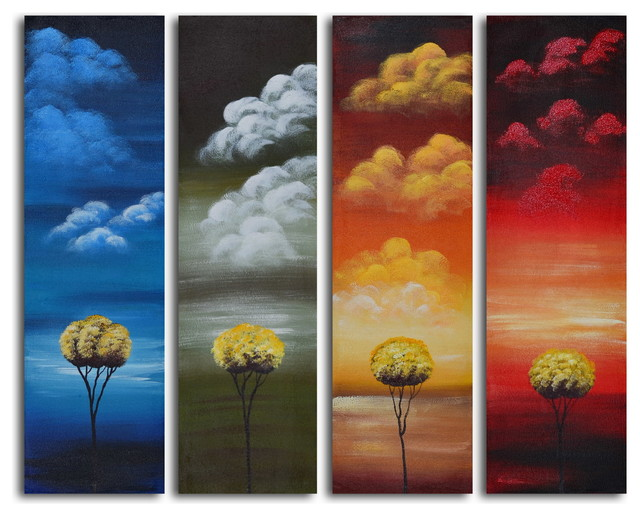 Many Moods Of Solitude Hand Painted 4 Piece Canvas Set
