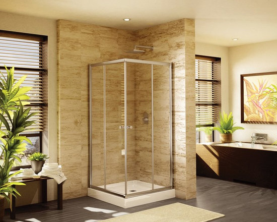 "Fleurco Banyo Amalfi Square 42"" x 42"" Frameless Corner Entry Shower Doors EAC42 - Deluxe anti-jump smooth rolling system"