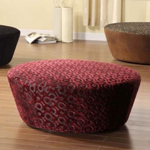Armen Living Hostess Round Chenille Ottoman - Eggplant eclectic ottomans and cubes