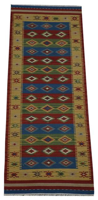 Anatolian Kilim Area Rug, 3X8 Hand Woven Runner 100% Wool Reversible Rug Sh10426 modern-rugs