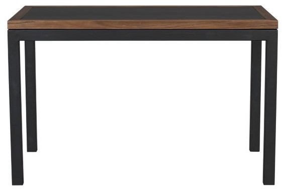 Parsons Elm-Framed Steel Top 48x28 Dining Table with Natural Dark Steel Base modern-dining-tables