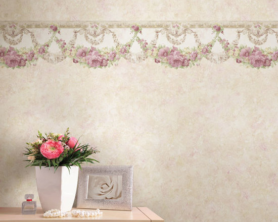 Vintage Wallpaper - Pretty vintage  wallpaper with a vintage border available from Brewster Home Fashions