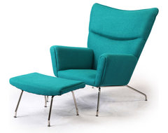 Kardiel Hans J Wegner Style Wing Chair & Ottoman, Turquoise Boucle Danish Wool midcentury-accent-chairs