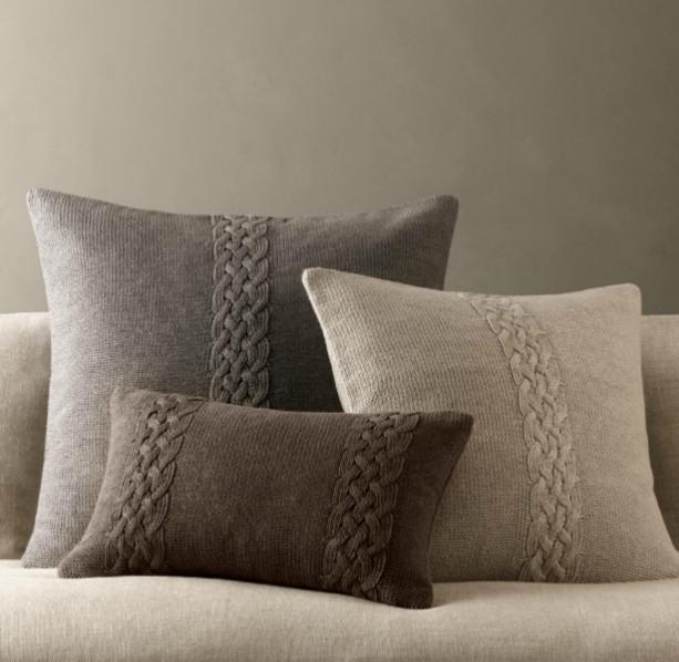 Belgian Linen Knit Pillow Covers traditional-decorative-pillows
