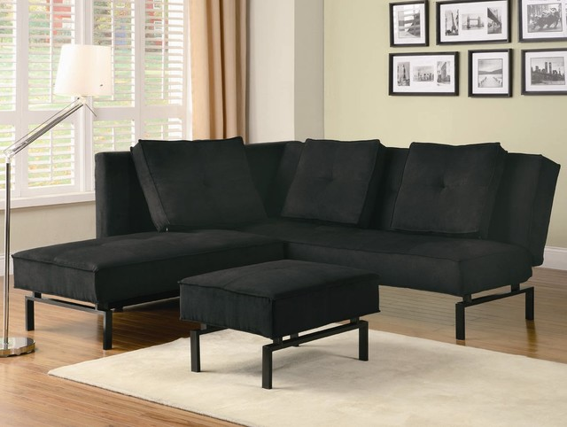 Chaise sofa bed in black fabric contemporary sectional for Black fabric sectional sofa with chaise