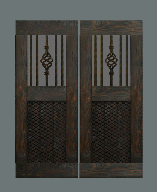 Rustic swinging bar doors
